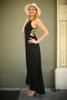 Strappy Chic Black Strappy Back Maxi Dress side view.
