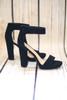 Megan Platform Black Heels with Ankle Strap