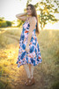 Tropical Vibes Pink Floral Printed Midi Dress side view.