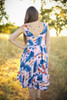 Tropical Vibes Pink Floral Printed Midi Dress back view.