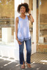Whimsical in Waffle Knit Blue Sleeveless Top full body front view.