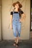 Fun For All Distressed Denim Overall Dress front view.