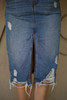Fun For All Distressed Denim Overall Dress skirt view.