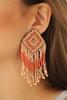 Diamond Orange and Natural Beaded Fringe Earrings