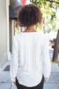 Loose in Ivory Surplice Long Sleeved Top back view.