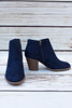 Jasmine Navy Strappy Cut Out Suede Bootie