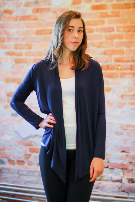 Navy open front cardigan front view.