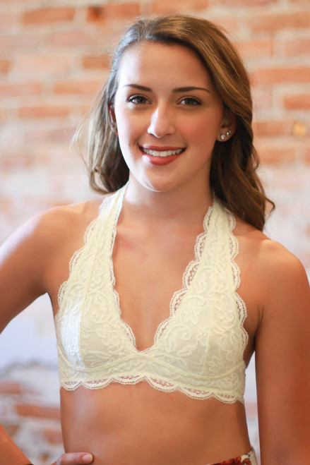 Let There Be Lace Halter Bralette in Ivory front view.