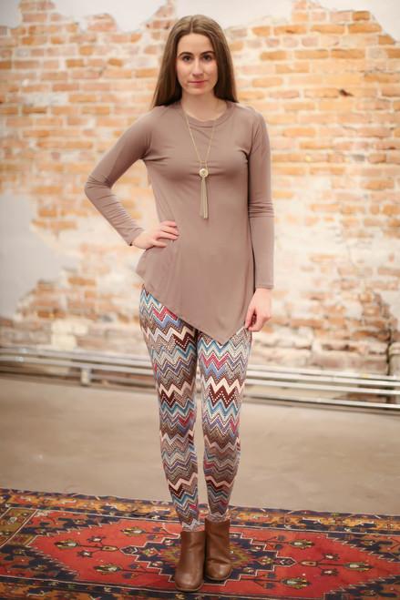 Simply Basics Mocha Asymmetrical Long Sleeve Tunic full body front view.