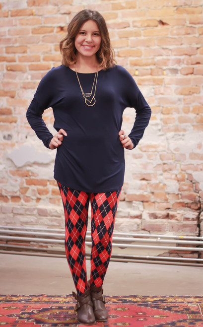 Simply Basics Navy Comfy Long Sleeve Tunic full body front view.