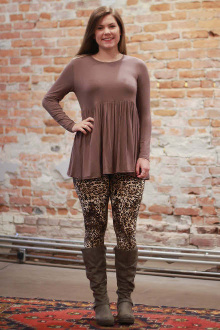 Simply Basics Chocolate Long Sleeve Ruffle Tunic full body front view.