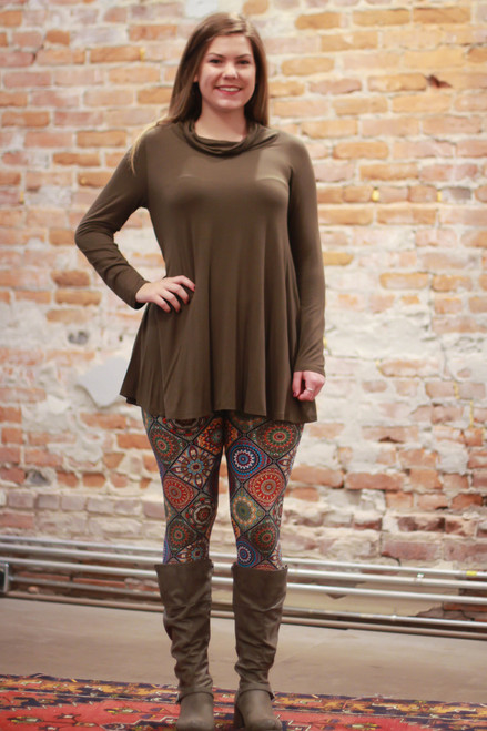 Simply Basics Olive Long Sleeve Tunic with Cowl full body front view.