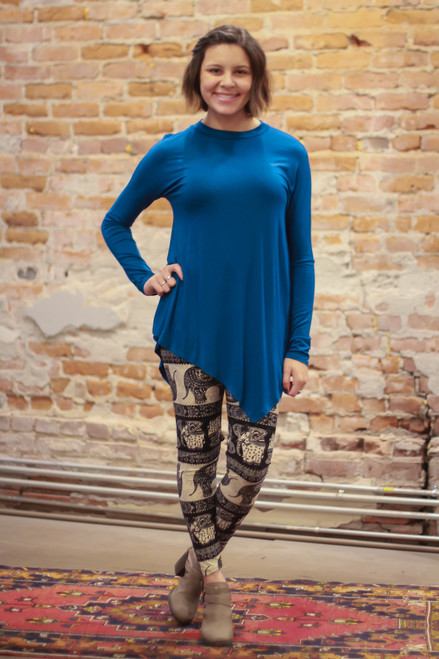 Simply Basics Teal Asymmetrical Long Sleeve Tunic full body front view.