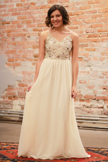 Athena's Blessing Cream Maxi Dress with Sequin Bodice front view.