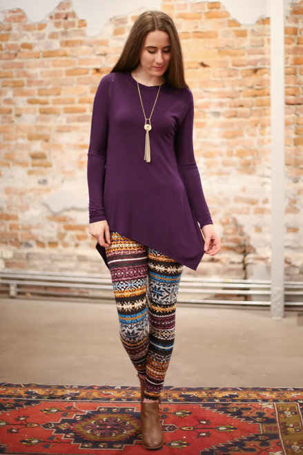 Simply Basics Eggplant Asymmetrical Long Sleeve Tunic full body front view.