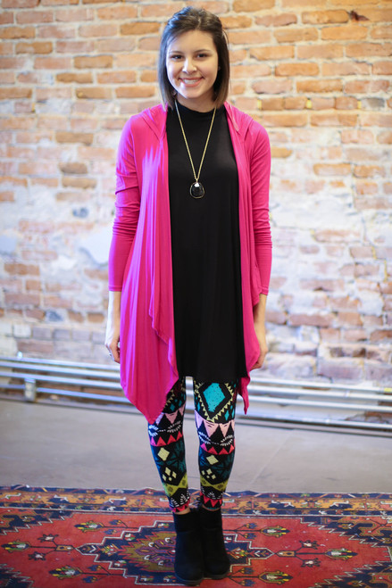 Simply Basics Magenta Handkerchief Cardigan with Hood full body front view.