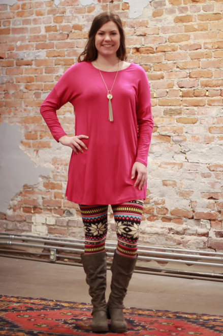Simply Basics Magenta Long Sleeve Tunic Dress full body front view.