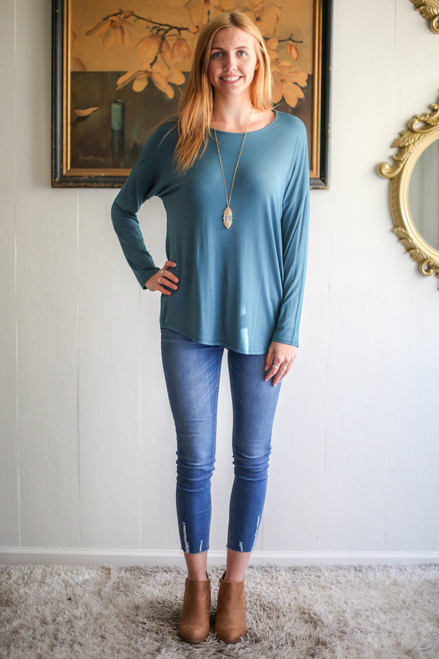 Simply Basics Teal Agua Comfy Long Sleeve Tunic full body front view.