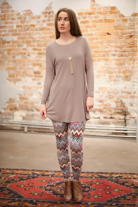 Simply Basics Mocha Long Sleeve Tunic Dress full body front view.