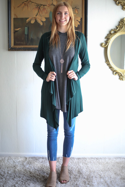 Simply Basics Dark Green Handkerchief Cardigan with Hood full body front view.