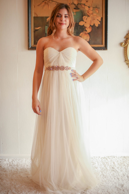 Ethereal Being Cream Tulle Maxi Dress with Embellished Band front view.