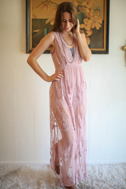 Lovely Lady Light Mauve Sleeveless Plunging Maxi Dress front view.