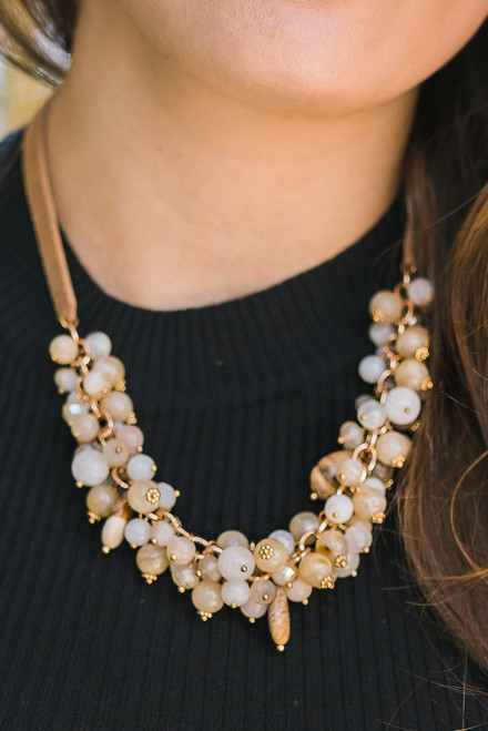 Natural Pink Cluster Statement Collar Necklace
