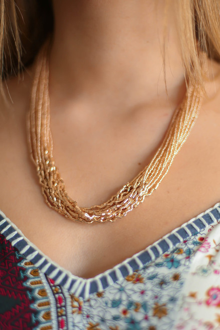 Champagne Twisted Seed Bead Collar Necklace