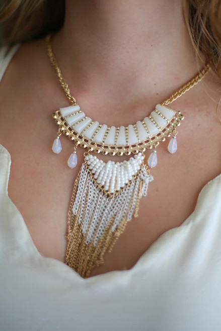 Trendsetter Stone and Fringe Ivory Statement Bib Necklace