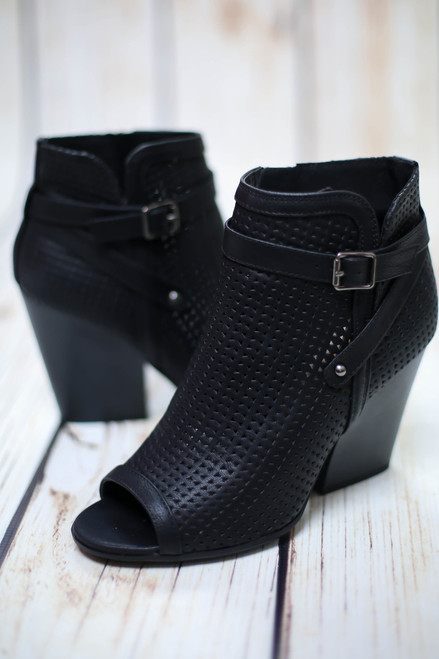 Addelyn Black Bootie with Peep Toe
