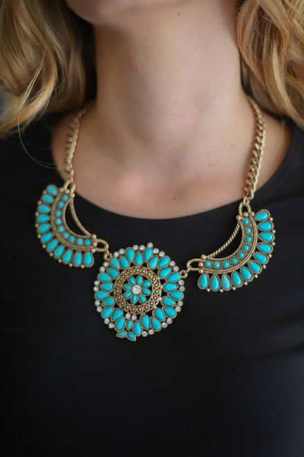 Turquoise Stone and Gold Floral Statement Necklace