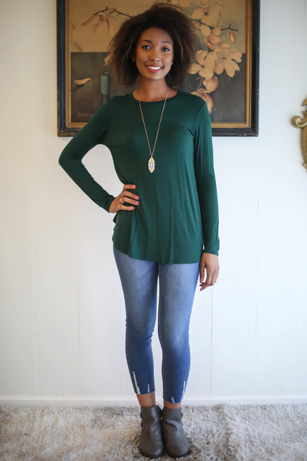 Simply Basics Dark Green Long Sleeve Top full body front view.