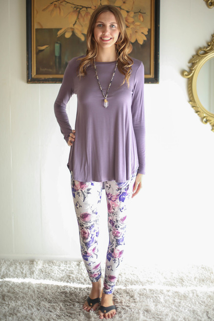Simply Basics Silver Sand Long Sleeve Top full body front view.
