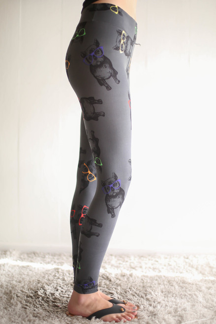 Hipster Frenchie Printed Butter Soft Leggings with Yoga Band side view.