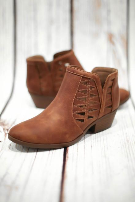 Annabelle Cognac Laser Cut Ankle Booties