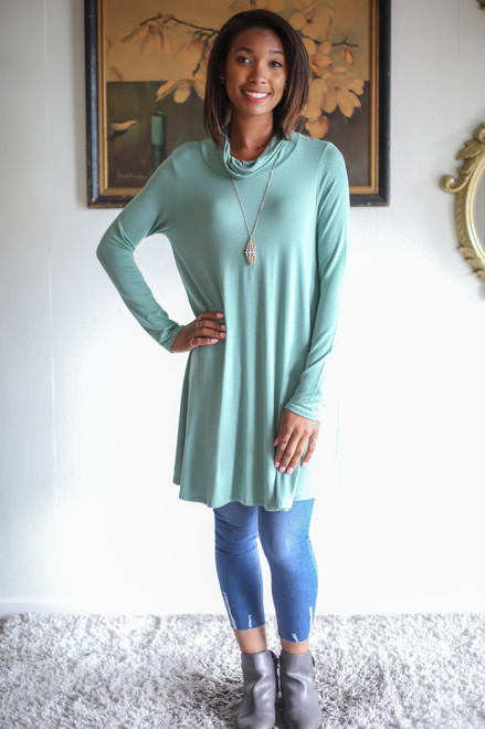 Simply Basics Sage Green Long Sleeve Cowl Neck Tunic full body front view.