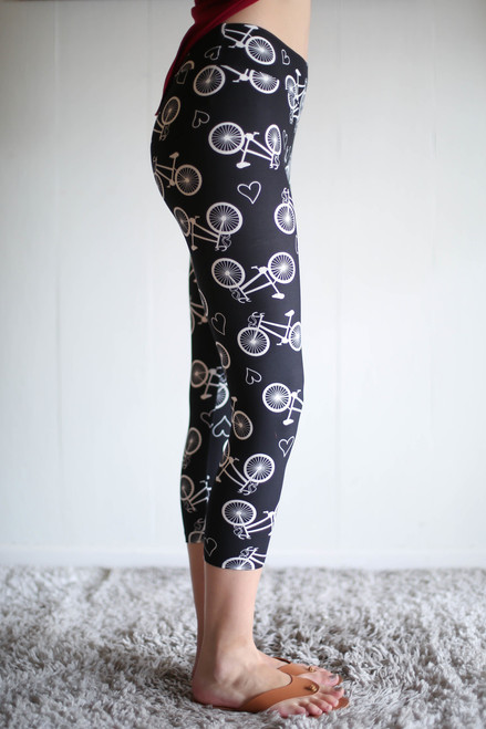 Bicycle Love Printed Butter Soft Cropped Leggings with Yoga Band side view.