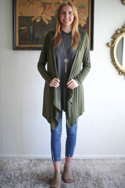 Simply Basics Army Green Handkerchief Cardigan with Hood full body front view.