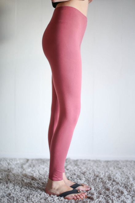 Simple Perfection Marsala Butter Soft Leggings side view.