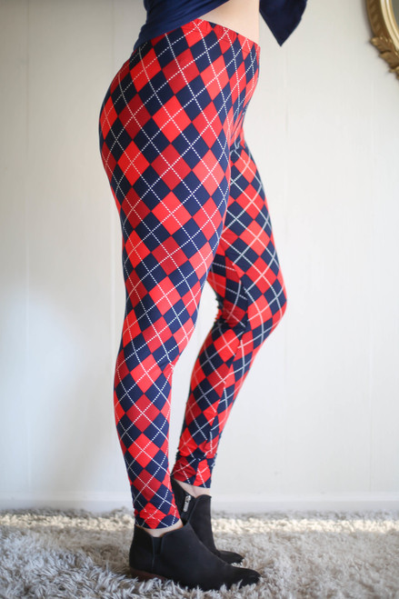 Curvy Red, Navy & White Argyle Butter Soft Leggings side view.