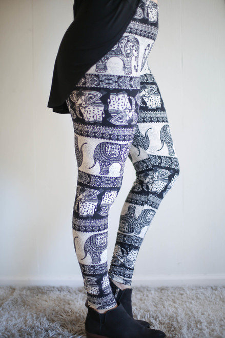 Curvy Elephant Striped Black and White Printed Butter Soft Leggings side view.