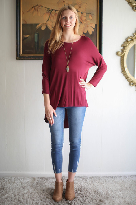Simply Basics Wine Rose Slouchy 3/4 Sleeve Top full body front view.