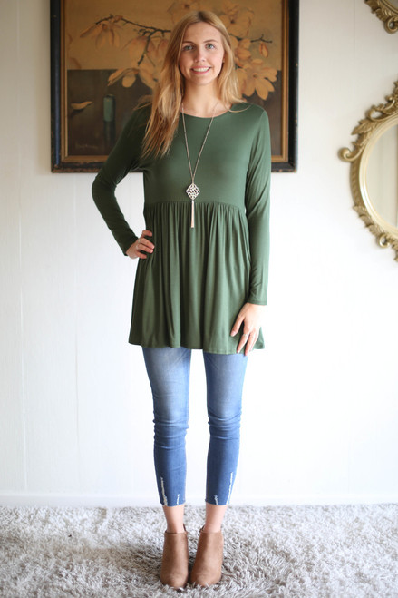 Simply Basics Army Green Long Sleeve Ruffle Tunic full body front view.