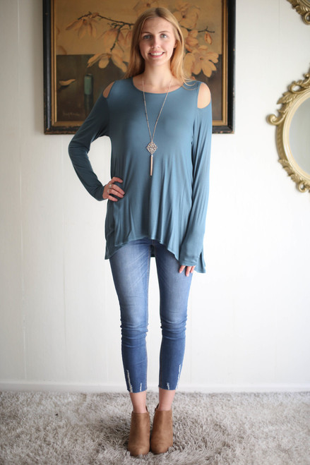 Simply Basics Teal Aqua Cold Shoulder Cutout Tunic full body front view.