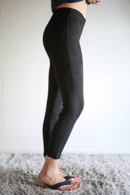 Suede Sensation Black High Waisted Leggings side view.