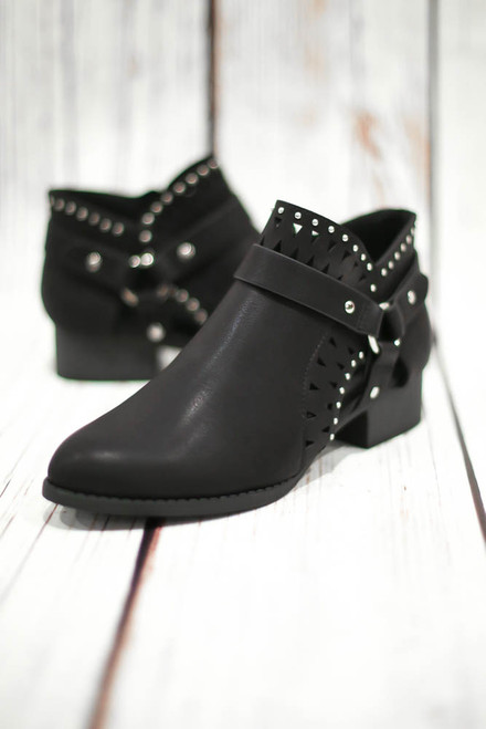 Jayne Black Laser Cut Ankle Booties