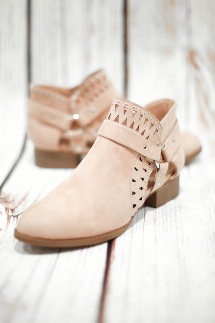 Jayne Dusty Mauve Laser Cut Ankle Booties