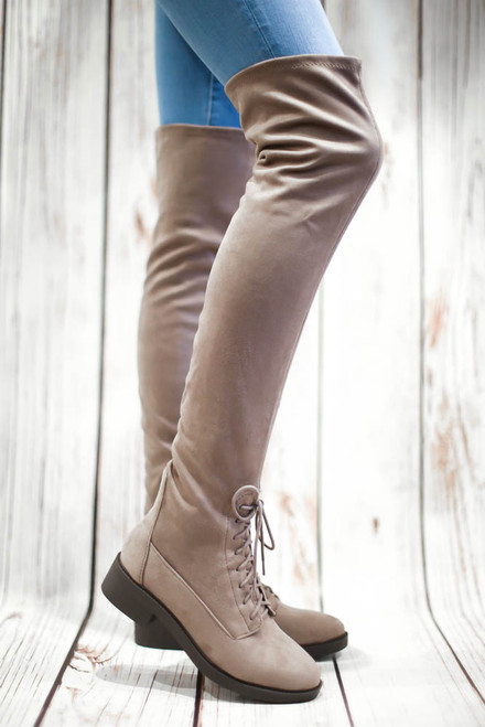Arlene Taupe Lace Up Thigh High Boot