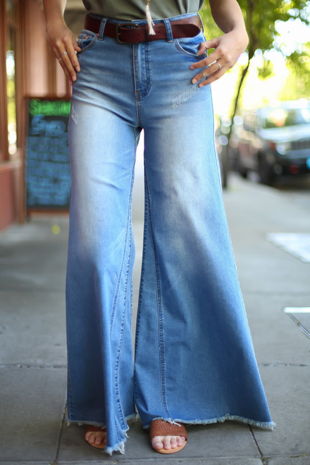 You Had Me at Denim Flared Jeans front view.