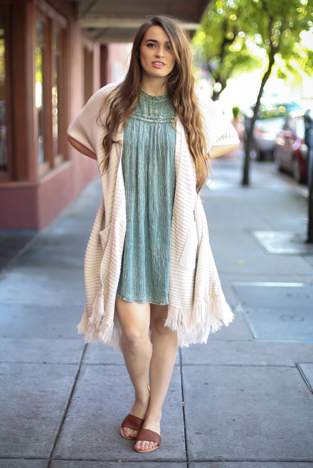 Fringe For You Oatmeal Knit Cardigan with Pockets full body front view.